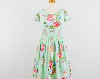Custom made floral bridesmaid dress, Vintage inspired bridesmaid dress, Mint green dress with short sleeves.