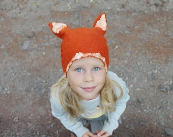 Felted Wool Hat, Kids Beanie, Wool Hat, Toddler Beanie Hat, Slouchy Hat, Woodland Animal Hat, Ear Beanie, Kids Accessories, Orange Fox Hat