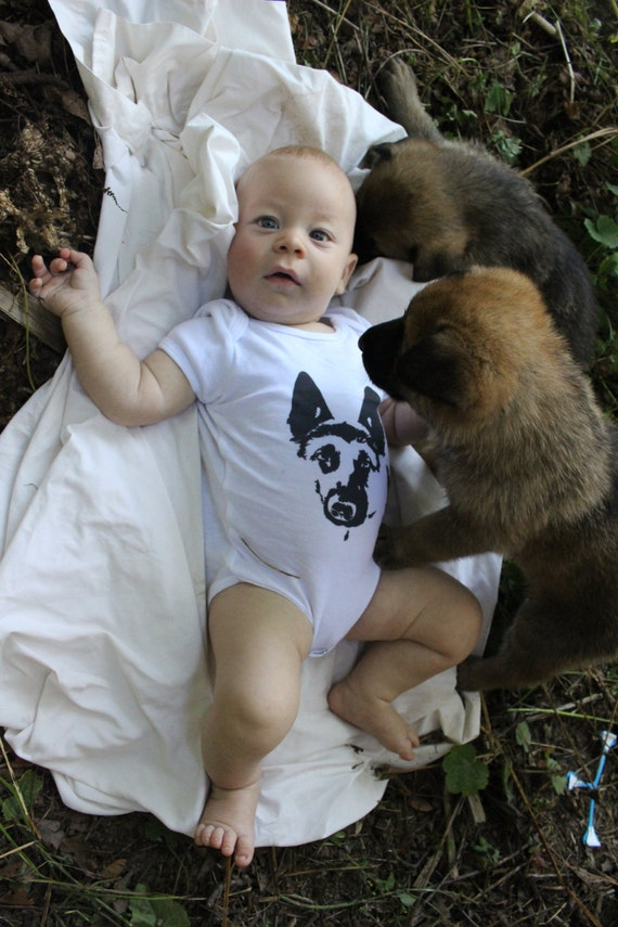German shepherd baby onesie gsd baby clothes by monofacesochildren