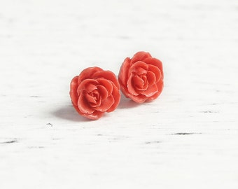 Dark Coral (11) 13mm Dainty Resin Rose Cabochons CF1027