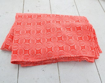 1970s Red and White Woven Acrylic Throw Blanket