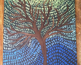 In waves./ Abstract / Tree Painting/ Canvas / Tree/ Blue/ Green