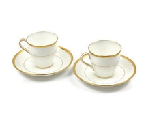 Mintons Demitasse Tea Cup Set / SET of 2 / Bone White with Encrusted Gold / England / c1911