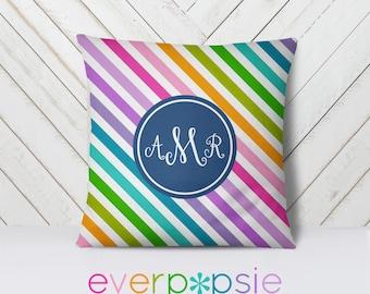 Throw Pillow Personalized-Pattern: Diagonal Stripes Multi Two