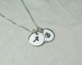 Initial Necklace Sterling Silver Monogram Necklace Personalized Mothers Necklace Personalized Jewelry Two Initial Disc Couples Necklace