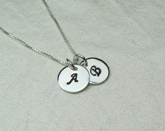 Initial Necklace Sterling Silver Monogram Necklace Personalized Mothers Necklace Personalized Jewelry Two Initial Disc Monogram Jewelry