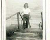 "Vintage Photo ""Exploring Michigan Lakes"" Beach Snapshot Photo Antique Old Black & White Photograph Found Paper Ephemera Vernacular - 130"