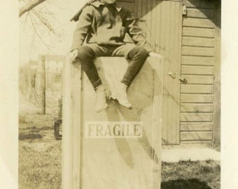 "Vintage Photo ""The FRAGILE Guardian"" Wood Box Sign Snapshot Photo Old Antique Black & White Photograph Found Paper Ephemera Vernacular - 161"