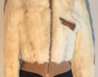 80's Cream Rabbit Fur Bomber Jacket
