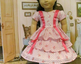 Historical Dress, 1850 Era Dress, Ruffled Dress, 18 Inch Doll Clothes