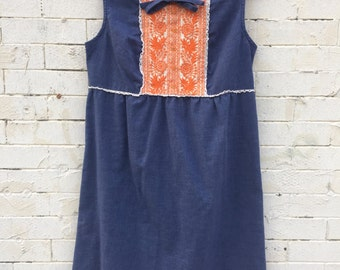 Vintage Sleeveless Denim Embroidered Shift Dress with tie- Size S / M