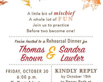 Fun Fall Rehearsal Dinner Invitation