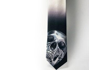 Silver skull necktie. Terminator necktie. T-800 necktie. T-1000 necktie. Cyborg necktie. Liquid metal tie. Skynet tie. Movie tie. Gray tie.