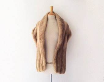 1940s 1950 genuine mink real fur stole by connecticut furriers