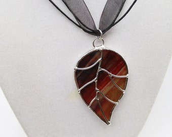 Deep red and gold stained glass leaf pendant with wire work free shipping