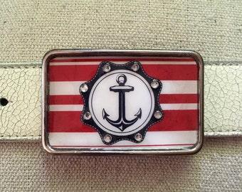 Anchors Away Red Nautical Belt Buckle