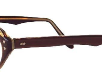 Vintage 1950s Rhinestone Cat Eye Eyeglass Frames Never Worn Small