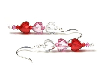 Valentine's Day Swarovski Crystal Heart Earrings, Red, Pink, Clear Crystal, Romantic Long Dangle Silver Earrings, Gift Box Jewelry For Women