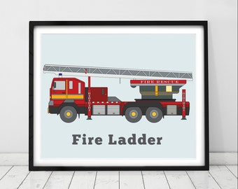 Red Fire Engine Print. Truck art, Rescue vehicle decor, Fire truck decor for boys. Truck prints, Toddler room decor, nursery prints