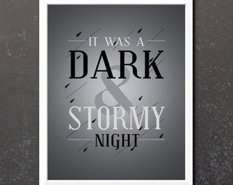 Book Quote Print - Typography and Ink Illustration Art - It was a Dark and Stormy Night Quote  - Book Lover Art for Library - Free Shipping