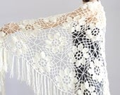 Off White Shawl Crocheted wrap shawl Off White shawl, Ivory Wraps Shawl Evening Lace Shawl Wedding Wrap