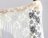 Off White Shawl Crocheted wrap shawl Off White shawl, Ivory Wraps Shawl Evening Lace Shawl Wedding Wrap