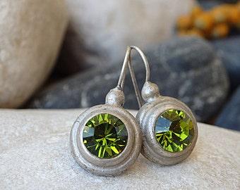 Rhinestone Swarovski Earrings, Green Swarovski Earrings, Oxidized Silver Green Drop Earrings, Bridal Swarovski Earrings for bridesmaid Gift