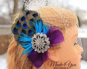 Peacock Wedding Fascinator-Birdcage Bridal Veil-Wedding Headpiece