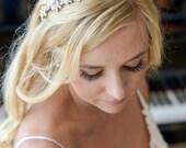 Wedding Headband, Freshwater Pearl Cluster Bridal Headband, Crystal Wedding Headband, Wedding Bridal Hair Accessories, Hair Jewelry, ELVINA