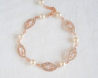 Bridal Pearl Bracelet, Wedding Bracelet, Rose Gold Bridal Bracelet, Swarovski Bracelet, Crystal Leaf Filigree Bridal Bracelet, AUGUSTINA