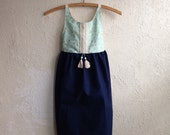 Navy & Teal Grace Dress - Handmade w/Embroidery and Tassels