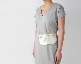 Golden Belt Bag, Leather Belt Bag, Flat Bum Bag, Hip Bag, Fanny Pack, Festival Bag, Travel Bag