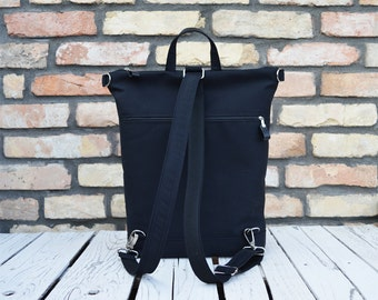Minimalist Vegan City backpack, Black rucksack, Functional Laptop carrier, available in two sizes, unique gift for women, birthday present