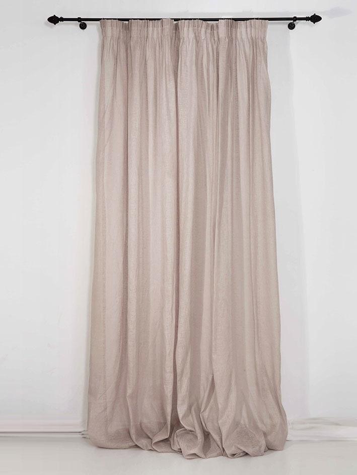 Sheer linen curtains pencil pleat window curtain panels for Linen sheer window panels