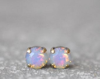 White Opal Rainbow Earrings Swarovski Crystal Rainbow Stud Super Sparklers Teenies RARE Earrings Mashugana