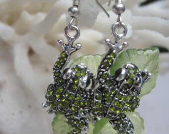 Green Crystal Leaping Frogs on Lily Pads Earrings