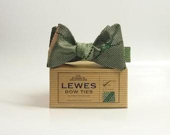 Men's bow tie - moss green and grey vintage japanese handwoven silk self-tie bow tie, autumn wedding bow tie