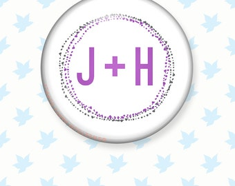 Modern Dot Initial Pinback Wedding Favor Button, Escort Card Favors, Custom Wedding Favor for Bridal Shower, Reception, Save the Dates