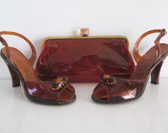 Rare Vintage 50's Clear Tortoise Shell / Amber Heels Shoes Matching Clutch Purse Handbag 7.5 Set