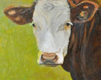 Cow Art Print, Hereford Cow Art, Cow Portrait Art, Cow Print, Cow Oil Painting, Farm Animal Art, Home Decor Wall Art by P. Tarlow