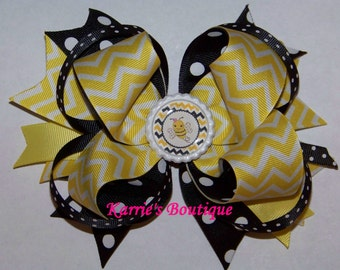 Bumble Bee Hair Bow or Headband / Yellow & Black / Pageant / Phot Prop / Infant / Baby / Girl / Toddler / Custom Boutique