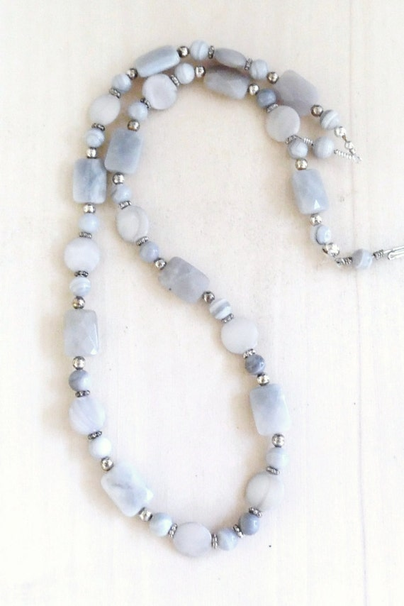Blue Lace Agate Necklace Strand Necklace Handmade Beaded