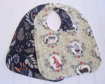 Baby Bib/Infant--18 mo./Set of Two Bibs/Foxtail Forest/Organic Fleece Back