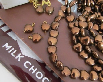 35 Chocolate Brown Heart Shaped Pearl Glass Beads