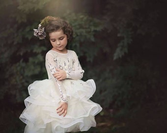 Long sleeve ivory dress, Anberlin lace ruffel dress