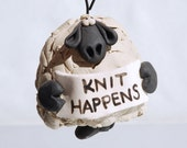Knit Happens Sheep Ornament Bell for your home or Christmas tree
