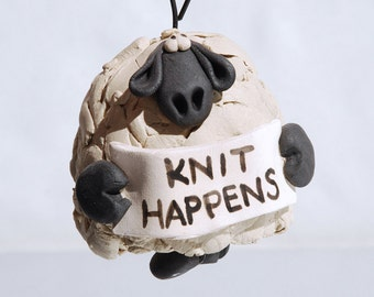 Knit Happens Sheep Ornament Bell for your home or a gift for a knitting friend