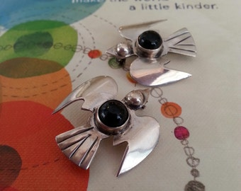 Set of 2, Vintage Sterling Silver and Onyx Mexican Flying Bird Brooches