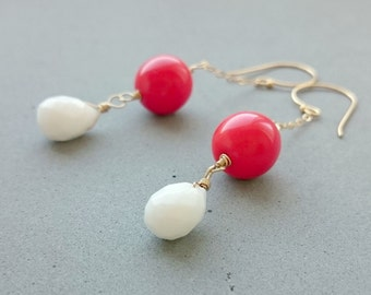 Snow White Agate with Vintage Glass Gold Filled Earrings