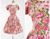 1950s Vintage Dress • Roses at Dawn • Pink Floral Watercolor Print Cotton Vintage 50s Drop Waist Dress Full Skirt Size Small